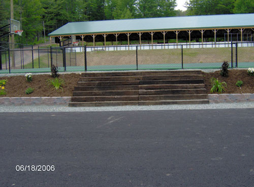 Railroad tie steps at Camp Starlight, Wayne county