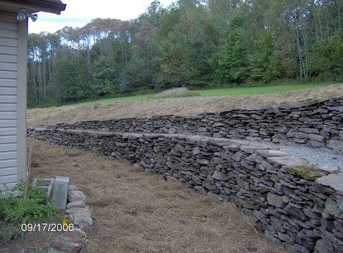 Natural dry laid local fieldstone and Bluestone walks